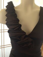 Cache Brown Bronze Taffeta Dress Size 6 3D Rosette Wedding Homecoming Prom