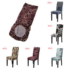 6Pcs Dining Chair Protector Cover Stretch Slipcover Removable For Dinner Party
