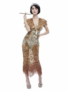 Deluxe 20s Sequin Gold Flapper Gatsby Ballgown Fancy Dress Outfit Ladies Costume
