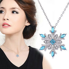 Elegant Women Blue Crystal Snowflake Chain Alloy Necklace Pendants Jewelry Gift