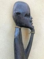 """Vintage African Art Primitive Wood Hand Carved Statue Sculpture Man Figure 18"""""""
