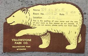ca.1940's OLD FAITHFUL LODGE, Yellowstone National Park BEAR-Shape Check-in Card