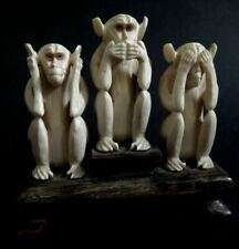 Trois singes sculpture Chine Old chinese carved monkey