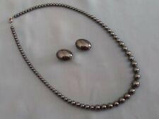 Lot collier et boucles d'oreilles en hématite perles grises