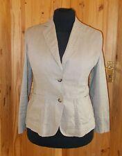 PER UNA beige khaki PURE LINEN long sleeve  single breasted jacket top 14 42 M&S