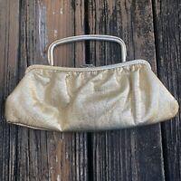 Vtg Gold Lamé Leather Vinyl Clutch Purse Evening Bag Metallic Lame 50s 60s