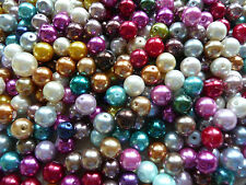 200 6mm Mixed Job Lot of Coloured Glass Pearl Beads 25 Mixed Colours 8mm