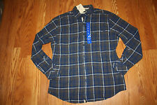 NWT Mens AGE OF WISDOM Button Front Long Sleeve Blue Brown Plaid Shirt L Large