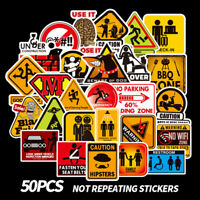 50PCS Warning Stickers Danger Waterproof Decal Sticker To DIY Laptop LuggagNWUS