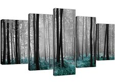 Extra Large Teal Forest Trees Canvas Wall Art Set of 5 Pictures