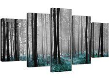 EXTRA Large Verde Acqua alberi foresta arte a muro Set di 5 foto