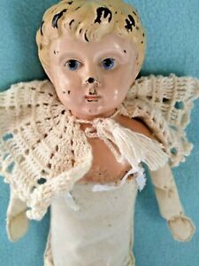 """💙 Antique 15"""" Germany Minerva #5 Tin Head Doll Painted Eyes~ Looks Angelic!"""