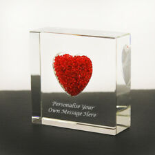Personalised Red Diamante Heart Crystal Glass Paperweight Ornament Keepsake Gift