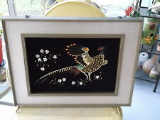 Vintage Black Velvet Pheasant Framed Picture with Beads and Sequins