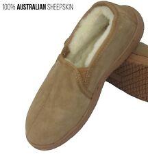 Mens Slippers Indoor Outdoor Shoe Brown Chestnut Wool Sheepskin Male Slipper