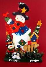 Grande Muñeco de Nieve Madera Figura Sentada Invierno Decoración Navidad 36CM