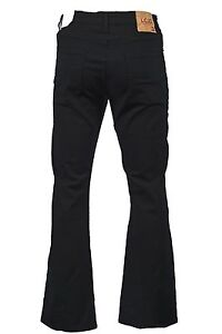 Men's LCJ Denim Bootcut Stretch Indie Retro Jeans W 70s Black LC20 All Sizes