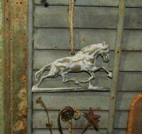 Primitive Antique Vtg Style Farm House Horse Embossed Hanging Metal Tin Sign