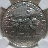 PORTUGAL 1 Escudo 1910 NGC AU 58 UNC Birth of Republic