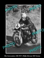 OLD HISTORIC MOTORCYCLE PHOTO OF WILFIE HERRON & HIS 500 NORTON, CARROWDORE 1957