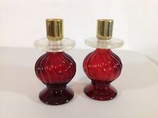 Avon Ruby Red Glass Cologne Bottle Candle Holder Candlesticks Acrylic drip ring