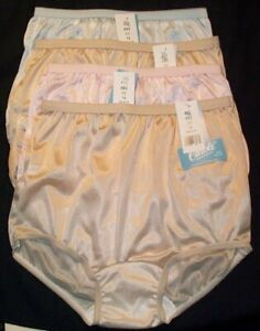 4 Nylon PANTIES KIDS SIZE 14 fits Ladies size 4 / 5 - 2 Beige & 1 Pink & 1 Blue