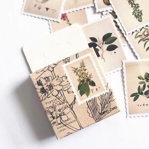 45 Botanical Vintage Plant & Flower Stamp Mini Box Stickers Scrapbooking Journal