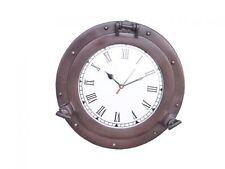 """Bronze Decorative Ship Porthole Clock 12"""" - Decorative Porthole - Nautical Decor"""