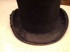 Antique The Kings Hat Lyoons London Men's Black Top Hat Stove Pipe Very Old