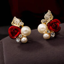 1Pair Red Rose Floral&Imitation Pearl Stud Earring Gold Plated Crystal Jewelry
