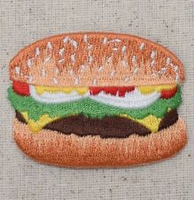 Iron On Embroidered Applique Patch - Hamburger - Cheeseburger - Picnic Food