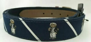 Polo Ralph Lauren Men's SZ 34 Captain Sailor Bear Needlepoint Waist Belt BLUE