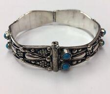 """Vintage Sterling Silver With Turquoise Bangle Bracelet 7"""" & 36.3gr"""