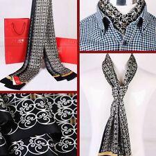"Fashion Mens 100% Silk Long Scarf/Cravat  Scarives Double Layer 63""X12"" Black"