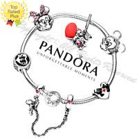 Authentic Pandora Bracelet Silver Disney Minnie Mickey with European Charms New