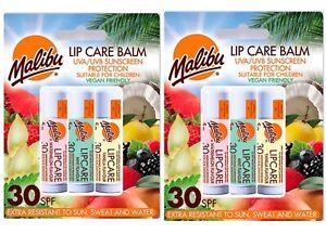 2X Malibu Lip  Balm UVA/UVB Sun Protection SPF 30 Watermelon Vanilla Mint