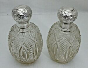 Antique 1896 Pair Solid Silver Topped Cut Glass Scent Bottles (1725/9/GSY)