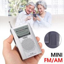 Mini Travel Pocket AM FM Radio Speaker Telescopic Antenna Earphone Jack 3.5mm