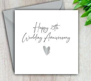 25th Anniversary Card, Silver Wedding Anniversary, Husband, Wife, Handmade