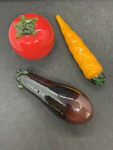 Art Glass Tomato, Carrot and Eggplant Murano Style Glass Fruit Glass Vegetables