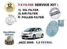 PARA HONDA JAZZ 1.2 L12B1 2008-> AIRE ACEITE POLLEN 3 KIT SERVICIO DE FILTRO