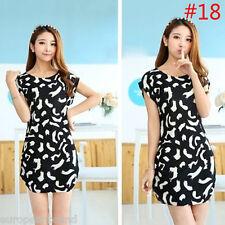 Women Casual Ladies Sleeveless Mini Dress Summer Print Loose Sundress bnw