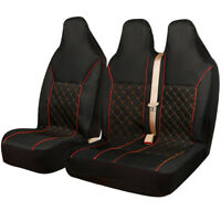 FORD TRANSIT (MK7) - LUXURY QUILTED RED PIPING VAN SEAT COVERS - SINGLE + DOUBLE
