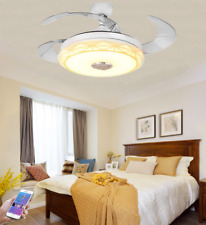 New Listing42' Bluetooth Invisible Ceiling Fans Music Player Chandelier w/ Light Remote