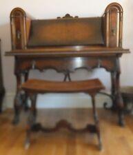 Antique Grunbaum Wood Secretary Study Desk and Seat 1900-1950