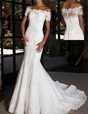 Custom Off-the-Shoulder White Ivory Lace Short Sleeve Mermaid Wedding Dress