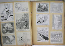 Vtg WWII Era Scrapbook 72 Pages of Wartime Cartoons from Many Sources Man Cave