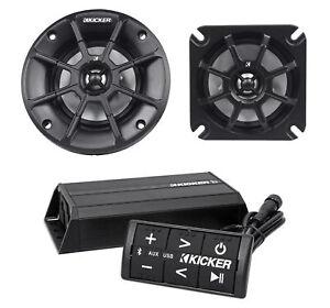 "Pair Kicker 40PS42 4"" 60W ATV/Motorcycle Speakers+Bluetooth Amplifier+Controller"