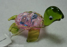 b Pink Blue GLASS FIGURINE turtle blown glitter light animal handmade ganz new