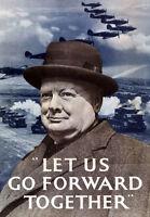 2W24 Vintage WWII Let Us Go Forward Churchill British War Poster WW2 A4